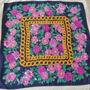 Vintage CHANEL Paris Scarf/Shawl Purple Flowers